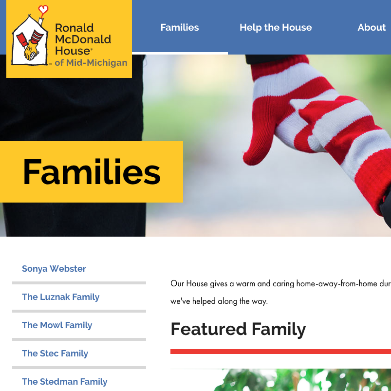 Families showcased on the Ronald McDonald House website
